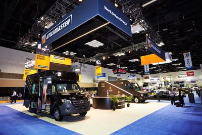 Velocity® M3 and Reach EV on display in the Utilimaster booth at the 2020 Work Truck Show